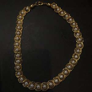 Gold tone and pearl wedding necklace